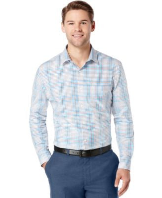 Perry Ellis Big and Tall Plaid Long-Sleeve Shirt
