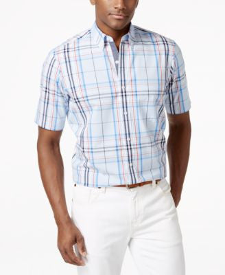 Club Room Plaid Short-Sleeve Shirt, Only at Vogily