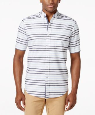 Club Room Striped Short-Sleeve Shirt, Only at Vogily