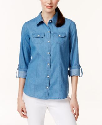Charter Club Button-Down Roll-Tab-Sleeve Denim Shirt, Only at Vogily