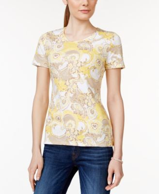 Charter Club Pima Cotton Paisley-Print Tee, Only at Vogily