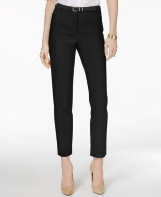 Charter Club Petite Belted Tummy-Control Slim-Leg Pants, Only at Vogily