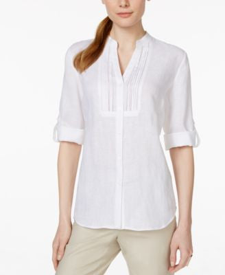 Charter Club Petite Linen Pintucked Shirt, Only at Vogily
