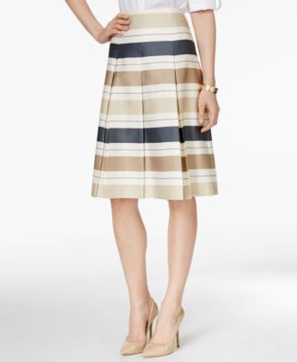 Charter Club Striped Pleated A-Line Skirt, Only at Vogily