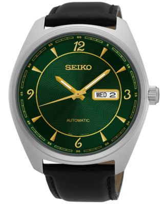 Seiko Men's Automatic Recraft Series Black Leather Strap Watch 45mm SNKN69