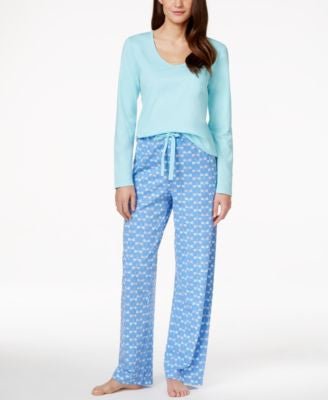 Charter Club Long-Sleeve Top & Knit Pajama Pants, Only at Vogily