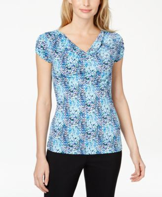 Tahari ASL Printed Cowl-Neck Top