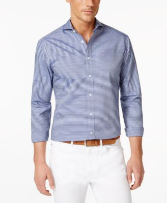 Vince Camuto Men's Navy Dobby Stripe Shirt