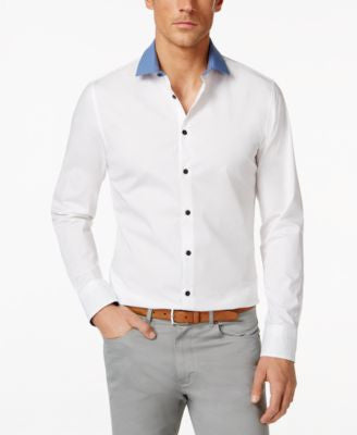 Vince Camuto Men's Contrast-Collar Long-Sleeve Shirt