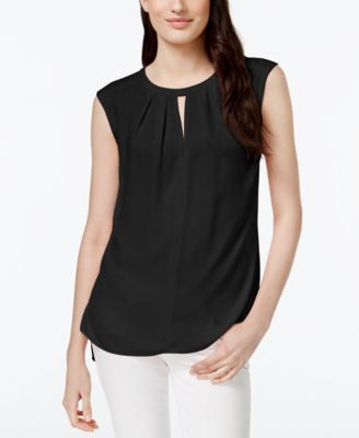 CeCe Pleated Sleeveless Keyhole Top - Available in Multiple Colors