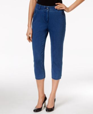 Style & Co. Petite Tummy-Control Pull-On Ocean Wash Capri Pants, Only at Vogily