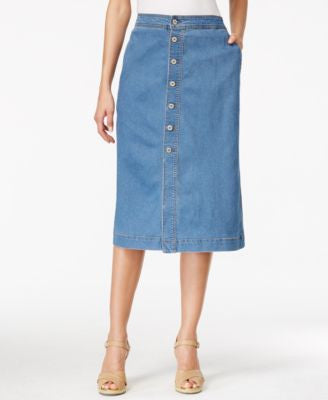 Style & Co. Button-Front Midi Denim Skirt, Only at Vogily