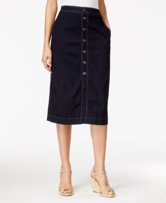 Style & Co. Button-Down Denim Midi Skirt, Only at Vogily