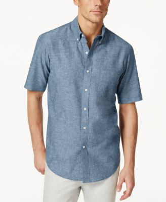 Club Room Linen Short-Sleeve Shirt, Only at Vogily