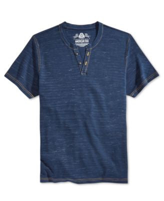American Rag Men's Pique Feeder-Stripe Split-Neck T-Shirt, Only at Vogily