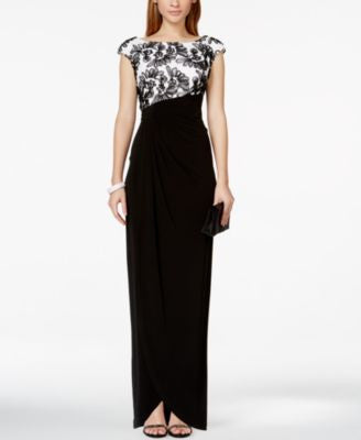 Connected Petite Soutache Faux-Wrap Gown