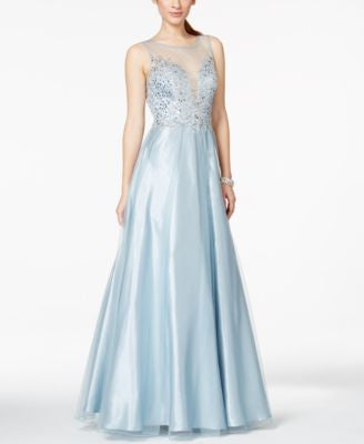 Betsy & Adam Illusion Embellished Sweetheart Gown