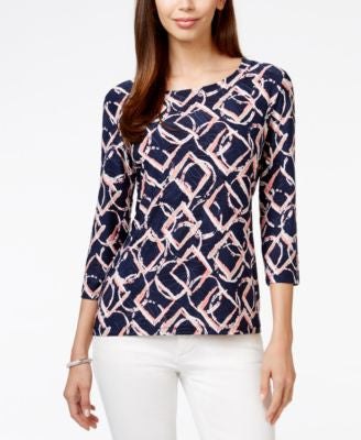 JM Collection Three-Quarter-Sleeve Geo-Print Top, Only at Vogily