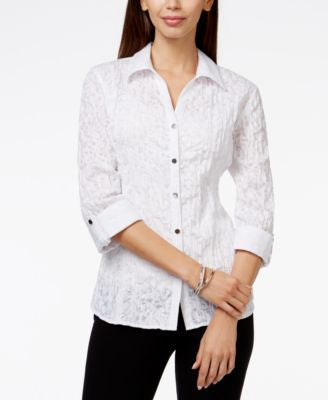 JM Collection Printed Button-Front Shirt, Only at Vogily