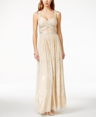 Betsy & Adam Crisscross Metallic Chiffon Gown