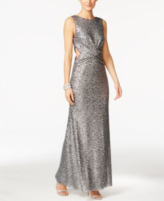 Betsy & Adam Sequined Cutout Gown