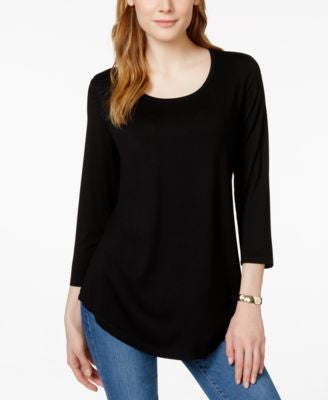 JM Collection Three-Quarter-Sleeve Scoop-Neck Tunic Top, Only at Vogily
