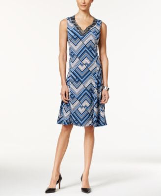 JM Collection Embellished Printed Fit & Flare Dress, Only at Vogily