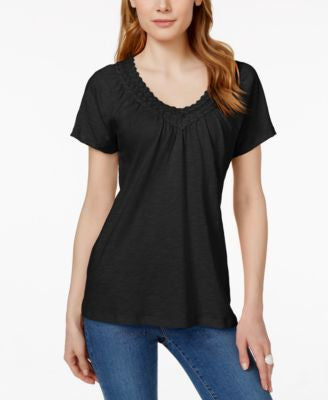 JM Collection Petite Crochet V-Neck Top, Only at Vogily