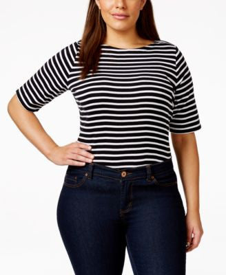Charter Club Plus Size Striped Boat-Neck Top, Only at Vogily