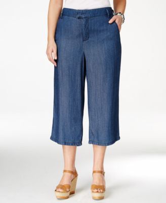 NYDJ Plus Size Blue Wash Culotte Jeans