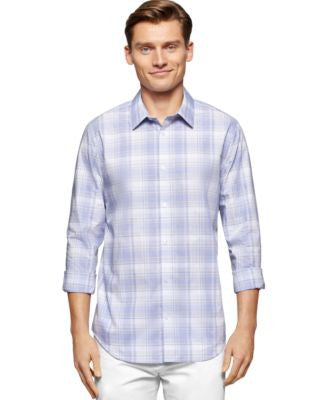 Calvin Klein Men's Cool Tech Plaid Dobby Shirt