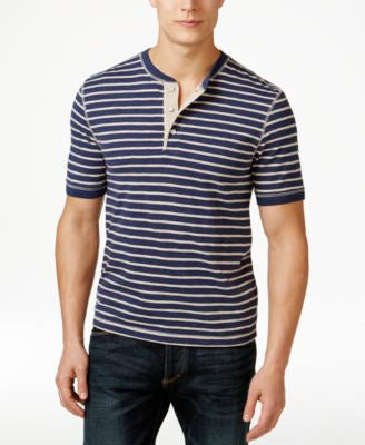 Club Room Big and Tall Stripe Henley Shirt, Only at Vogily