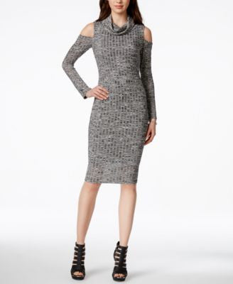 Bar III Heathered Cold-Shoulder Sweater Dress, Only at Vogily