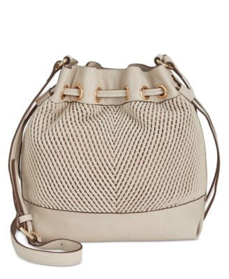 French Connnection Dallas Woven Drawstring Bag