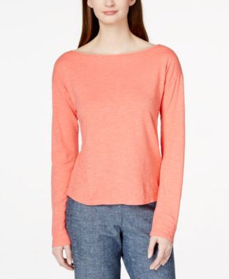 Eileen Fisher Long-Sleeve Boat-Neck Top