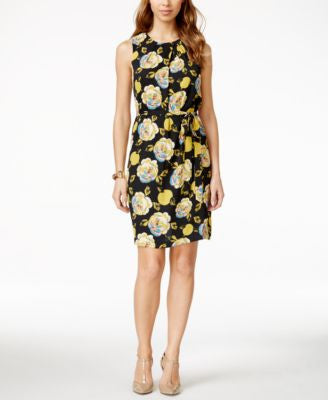 Nine West Floral-Print Tie-Belt Sheath Dress