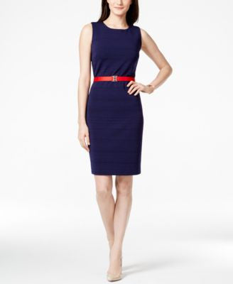 Tommy Hilfiger Sleeveless Belted Sheath Dress