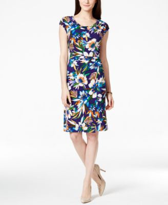 Tommy Hilfiger Ruched Floral-Print Sheath Dress