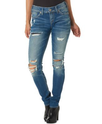 Silver Jeans Suki Ripped Medium Blue Wash Skinny Jeans