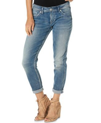 Silver Jeans Suki Medium Blue Wash Boyfriend Jeans