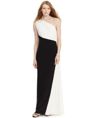 Lauren Ralph Lauren Colorblocked One-Shoulder Gown