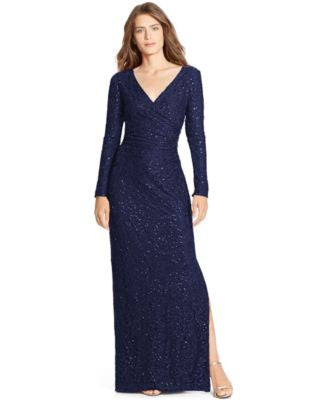 Lauren Ralph Lauren Sequined-Lace Surplice Dress