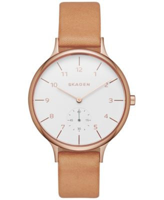 Skagen Women's Chronograph Natural Leather Strap Watch 34mm SKW2405