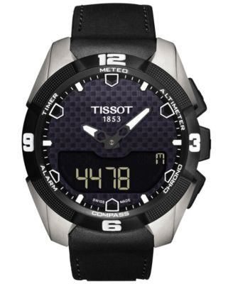 Tissot Men's Swiss Solar Analog-Digital T-Touch Expert Black Leather Strap Watch 45mm T0914204605100