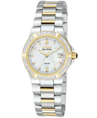 Citizen Women's Eco-Drive Riva Two Tone Stainless Steel Bracelet Watch 26mm EW0894-57D