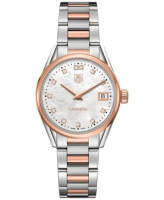 TAG Heuer Women's Swiss Carrera Diamond Accent 18k Two-Tone Stainless Steel Bracelet Watch 32mm WAR1