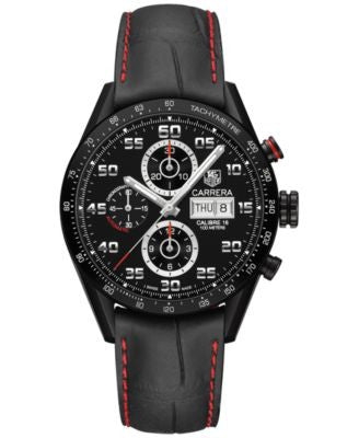 TAG Heuer Men's Swiss Automatic Chronograph Carrera Black Leather Strap Watch 43mm CV2A81.FC6237