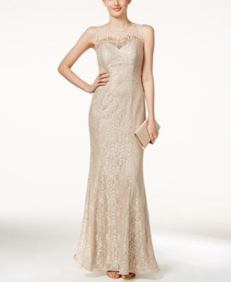 Xscape Sleeveless Illusion Beaded & Lace Gown