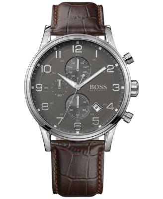BOSS Hugo Boss Men's Chronograph Aeroliner Brown Leather Strap Watch 44mm 1512570