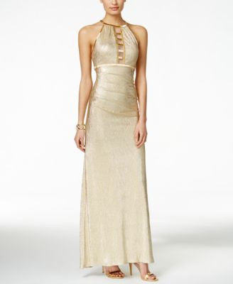 Xscape Illusion Ladder Beaded Metallic Halter Gown